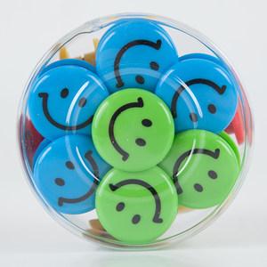 广博吸铁石 30mm教学白板彩色圆形笑脸强磁扣30只办公黑板磁铁磁钉冰箱贴 教具办公