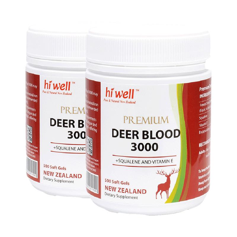 预售hiwell新西兰冻干鹿血粉胶囊鹿茸血男女强肾健体500粒2瓶