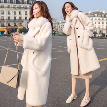 2018 winter new lamb fur faux fur one fur coat female long white fur collar fur coat