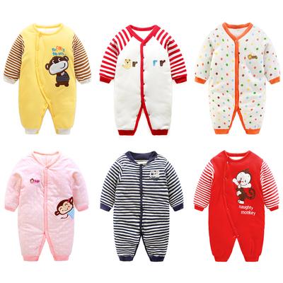 女婴儿衣服加厚哈衣0岁新生儿夹棉连体衣冬季3男宝宝保暖爬服冬装