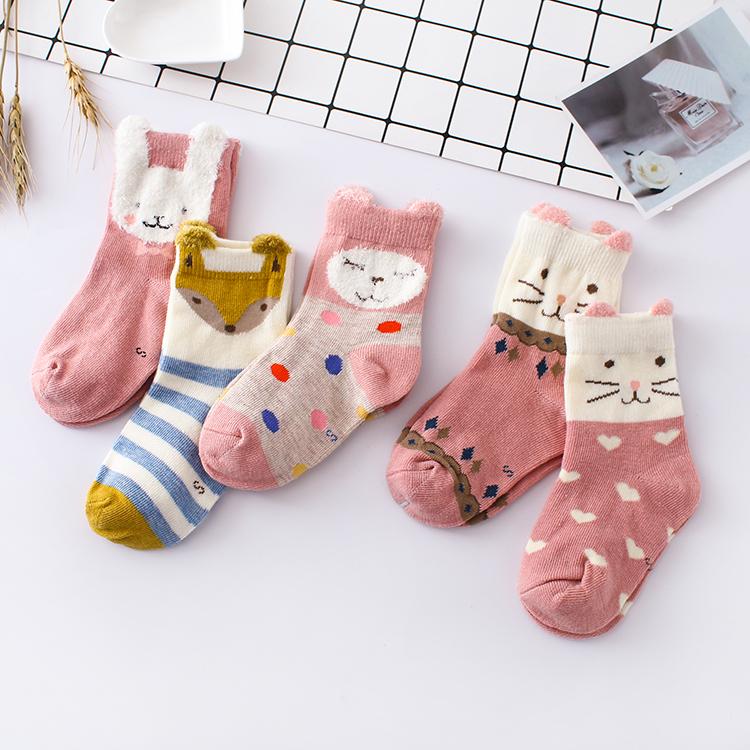 春秋冬季儿童袜子 女童卡通动物纯棉袜男宝宝厚款中筒袜2-3-5-7岁
