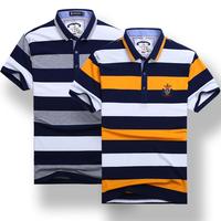 速卖通夏季色织条纹翻领短袖刺绣男装流行polo衫全棉加大码保罗衫