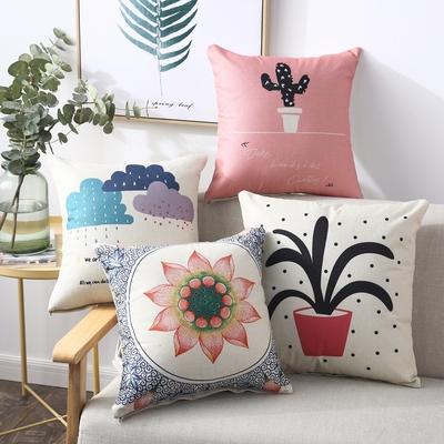 北欧沙发抱枕套不含芯靠枕床头靠垫客厅腰枕靠背垫正方形棉麻腰枕