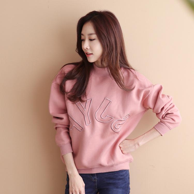 2019春季新款韩版女装半高领前后刺绣字母宽松卫衣女