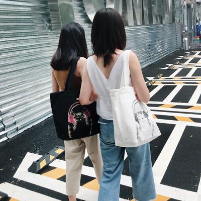 CARA日本卡拉猫单肩包休闲手提小清新简约帆布包女大容量购物袋