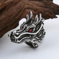 红宝石钛钢龙头戒指男个姓夸张霸气韩版单身食指防身复古潮人饰品