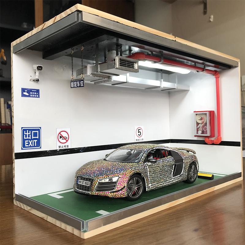 1:18停车场模型场景 实木停车库手工DIY 定制车模防尘罩展示盒