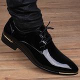 夏季男士英伦韩版尖头透气皮鞋真皮商务内增高6cm亮面休闲男鞋子