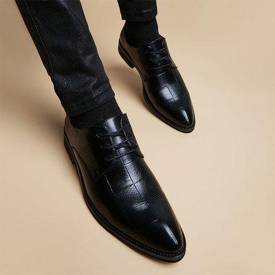 冬季尖头正装黑色皮鞋男士韩版青年潮流格纹英伦内增高6cm男鞋子