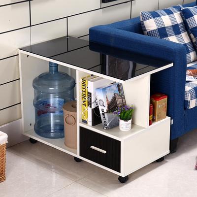 简约现代移动茶几 带轮茶车 创意钢化玻璃小茶桌沙发边几 角几爆款