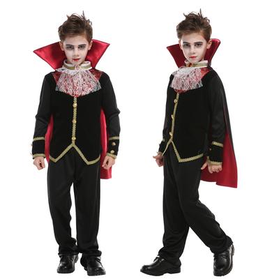 万圣节儿童服装男童化妆舞会晚会衣服cos吓人恶魔披风吸血小公爵