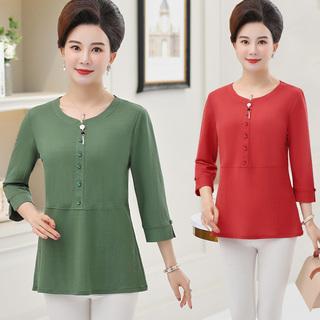 新款中老年女装春季中袖打底衫中年妈妈大码洋气半袖T恤春夏上衣
