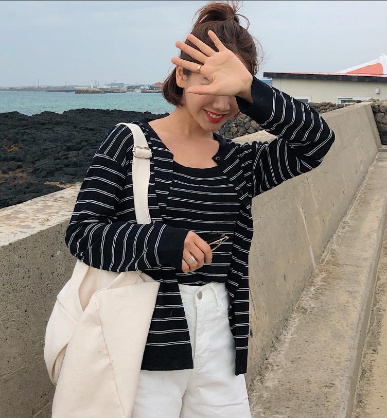 2019韩国代购春夏季女式新款无袖背心条纹打底开襟针织衫两件套装
