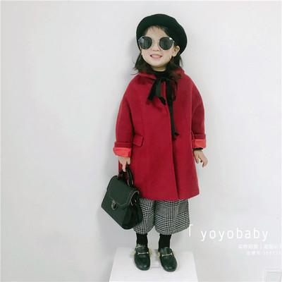 童装17冬装女童女宝宝柔软仿貂绒复古女童呢大衣廓形斗篷新品外套