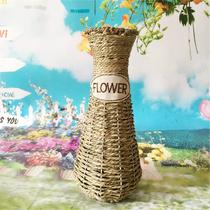 小号粗陶花瓶禅意中式德化陶瓷花插花艺陶艺茶桌面摆件水培瓷瓶子