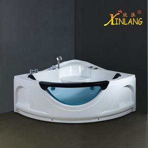1.4米玻璃扇形双人五件套冲浪按摩三角缸亚克力坐式泡泡家用浴缸
