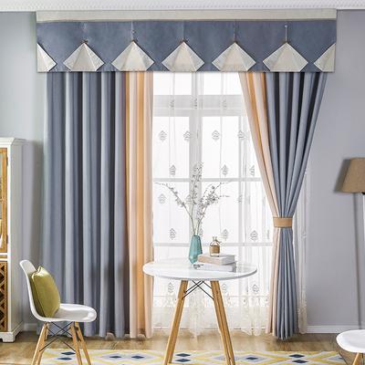 窗帘成品简约现代客厅素色美式飘窗落地窗棉麻纱窗帘遮光卧室网店网址