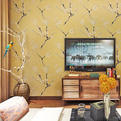 新中式3D立体客厅电视背景墙影视墙壁纸鹿皮绒梅花墙纸床头背景墙评测