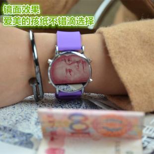 韩版LED镜子手表女 男学生电子表原宿简约硅胶时尚潮流休闲潮手表