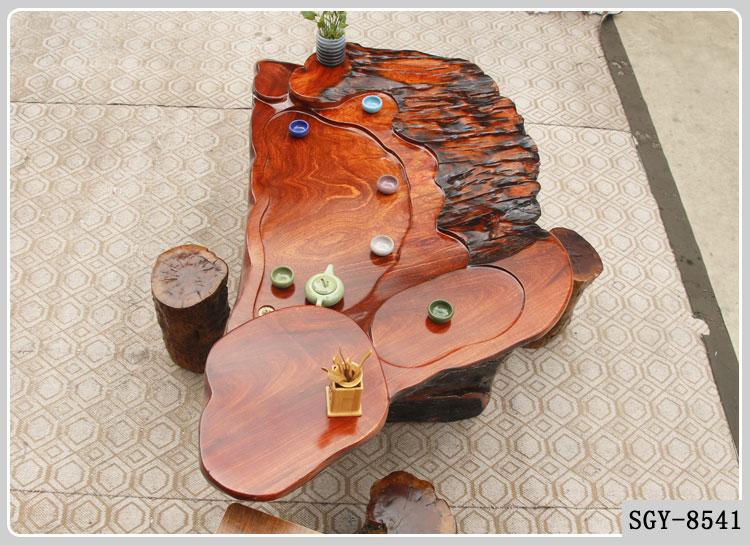 1.7米特色造型花梨木红色自然纹路环保树根泡茶桌子别墅客厅8541