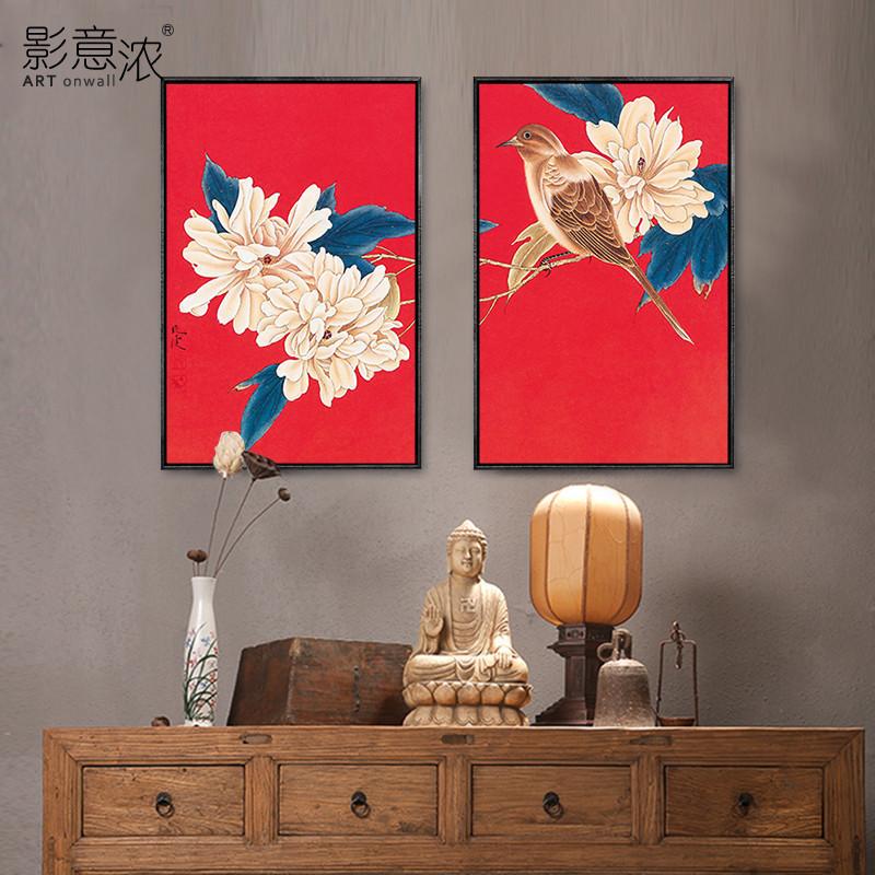 红色中式挂画