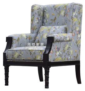 高端定制美式乡村欧式布艺印花单人沙发实木雕花靠背椅休闲扶手椅