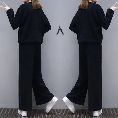 2018春秋大码女套装时尚休闲胖mm遮肚子藏肉显瘦阔腿裤休闲两件套