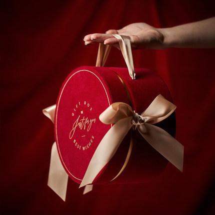 红色ins风圆形结婚礼伴手礼创意伴娘郎生日满月回礼物空盒子定制