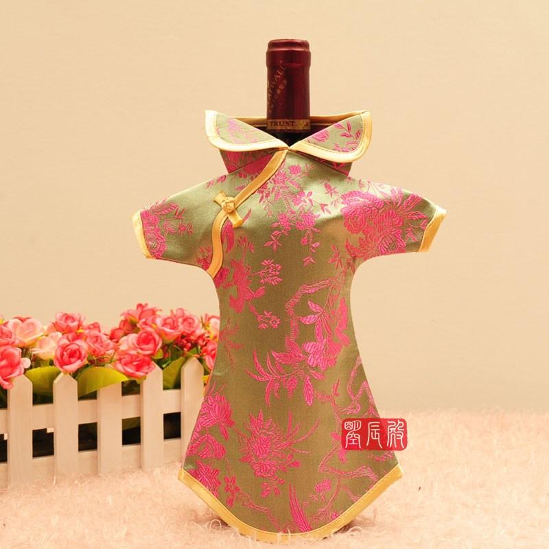 2018新款酒瓶套中式中国风红酒套酒瓶衣服旗袍唐装中式家居出国礼