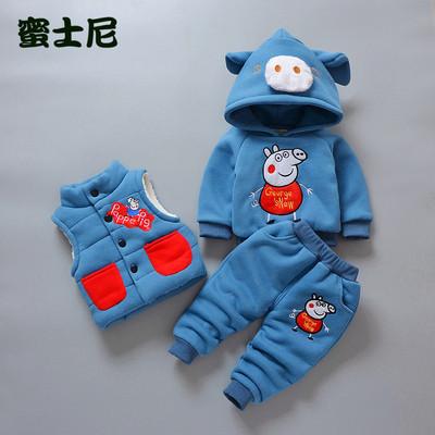 男童0女宝宝1冬季2卫衣3岁加绒加厚卫衣三件套装冬装婴儿童装衣服