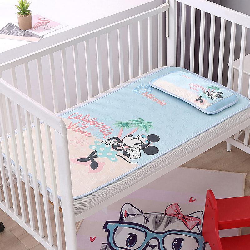 迪士尼婴儿床凉席冰丝新生儿宝宝儿童凉席夏季透气幼儿园午睡凉席