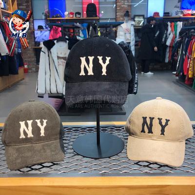 韩国MLB正品2019新款刺绣棒球帽NY洋基队灯芯绒条纹男女鸭舌帽