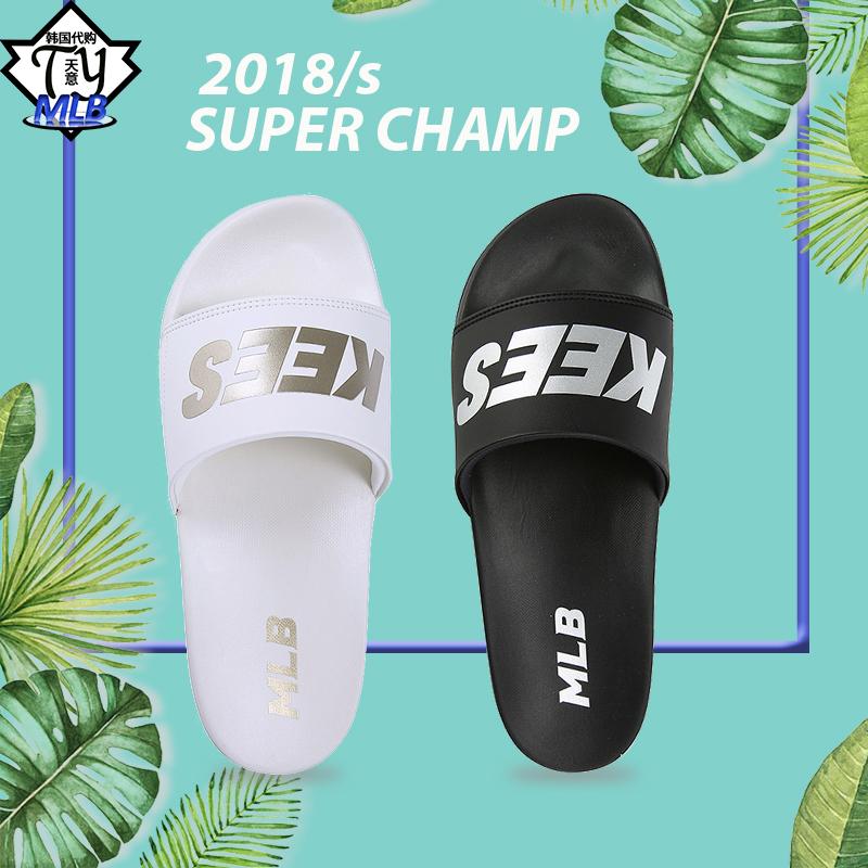 韩国MLB专柜正品2018新款男女拖鞋洋基队休闲凉拖全黑全白一字拖