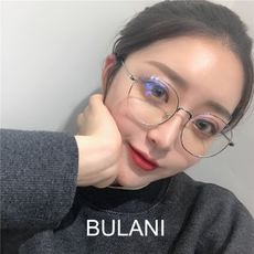 Korean literary glasses frame female retro Harajuku Korean version Flat mirror plain face glasses tide metal myopia mirror