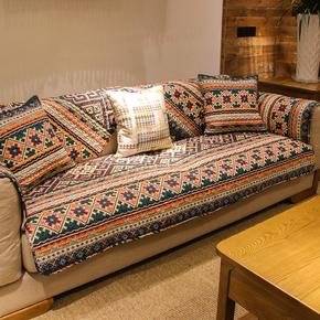 波西米亚复古民族风全棉沙发垫布艺防滑耐脏百搭沙发巾套罩可定制