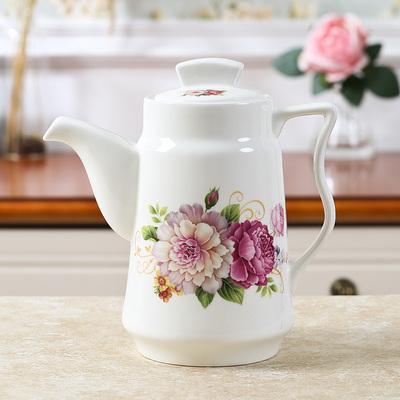 家用陶瓷冷水壶大容量凉茶壶耐高温防爆时尚创意陶瓷花茶水具单壶2018新款
