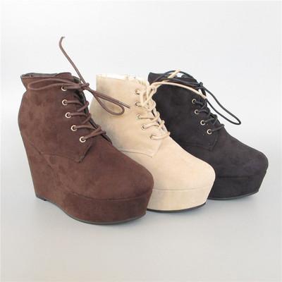 好系列专柜正品增高磨砂坡跟高水台cosplay百搭短靴子 2471344417