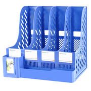 Thicken file rack basket multi-layer four-bar box office supplies information frame folder folder storage box storage tray basket student bookshelf simple desk book stand with pen holder stationery