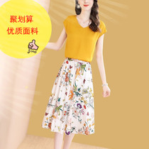 夏季新款两件套裙不规则半身裙小清新休闲套装一件代发女式2019