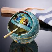 欧式带盖烟灰缸 多功能复古烟灰缸 防风烟灰缸 金属球形烟灰盅