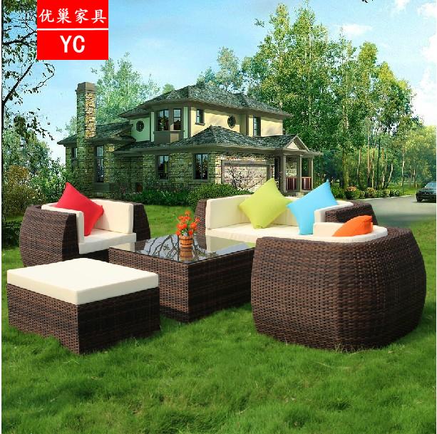 户外藤椅沙发 茶几凳子室内外客厅休闲藤艺藤制庭院转角沙发组合