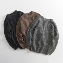 Simple leisure! Autumn and Winter Men's Loose Round-collar Sleeve Knitted Sweater with Arrows Sleeves Pure Coarse Wool Coat