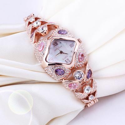 玛丽莎新品镂空手镯手链水晶女表时尚潮流镶水钻防水学生时装腕表十大品牌