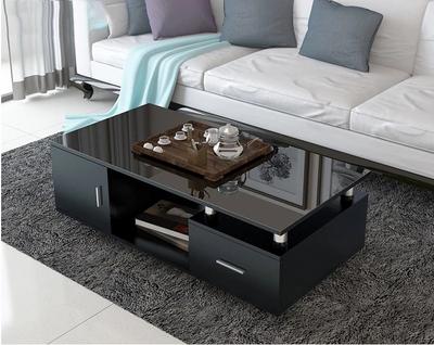 茶几简约现代钢化玻璃茶几电视柜木质方形小户型客厅创意茶几桌子实体店