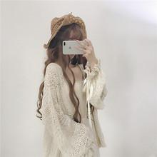 外套 长袖 韩版 ulzzang防晒衣蕾丝开衫 软妹日系灯笼袖 2018夏季女装