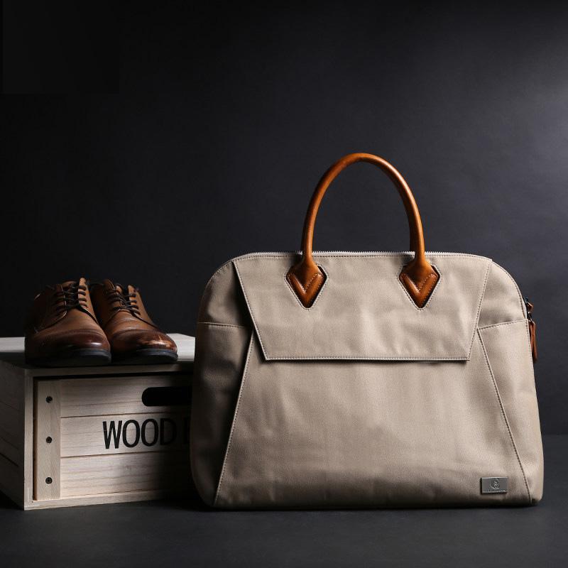 男士手提包横款公文包男商务包 休闲男包帆布包苹果电脑包女包潮