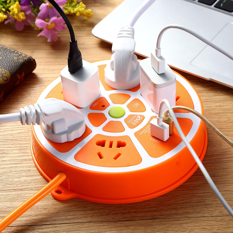 智能带线多孔多用USB充电插板插座排插拖插线板接线板延长线1.8米