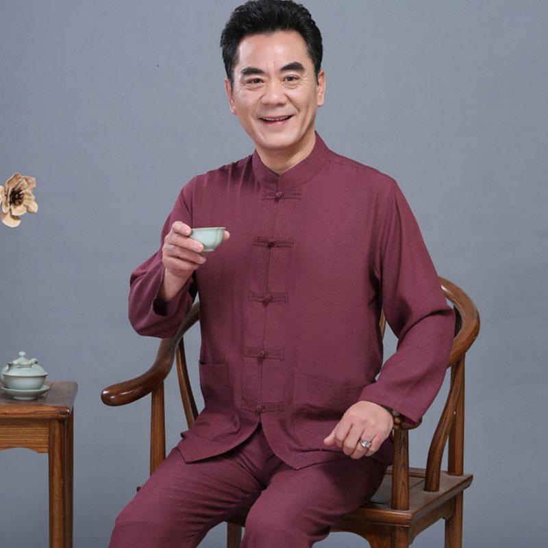 中老年人唐装男中国风长袖套装薄款爸爸爷爷夏秋季老人衣服中山装