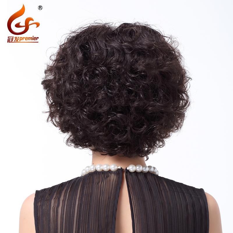 假发女短发中老年假发中长卷发真发假发整顶假发套真人发丝短卷发