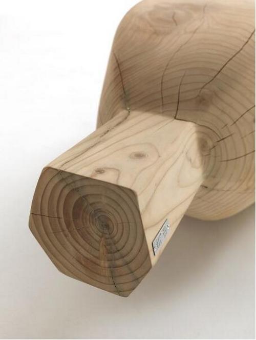 民宿整木椅子会所酒店大堂创意原木展览景观香蕉长凳换鞋休息凳